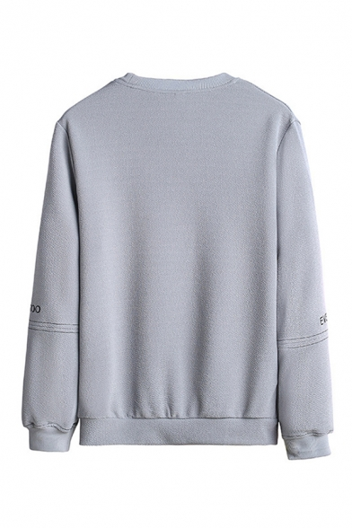 Popular Mens Letter Everve Printed Contrasted Stitch Chest Pocket Long Sleeve Crew Neck Relaxed Pullover Sweatshirt