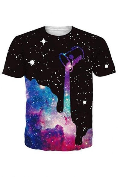 Stylish Black Pouring Starry Sky 3D Printed Short Sleeve Crew Neck Relaxed Fit T Shirt for Guys