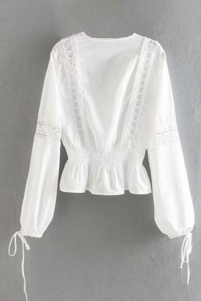 Stylish Womens Lace Panel Bow Tie Blouson Sleeve Surplice Neck Ruffled Trim Regular Fit Blouse Top in White