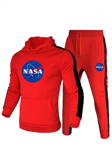 Casual Mens Letter Nasa Print Tape Panel Long Sleeve Kangaroo Pocket Fitted Hoodie & Drawstring Waist Ankle Sweatpants Set