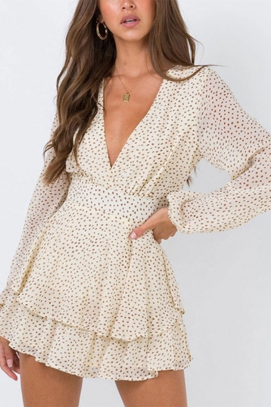 Elegant Womens Polka Dot Printed Long Sleeve V-neck Ruffled Tiered Short Pleated A-line Dress in Apricot LM653323 фото