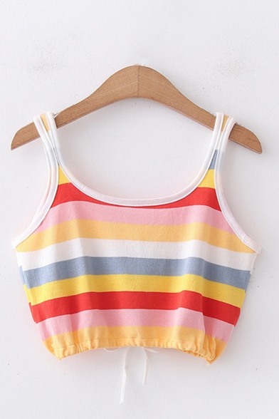 Fancy Girls Single Floral Embroidered Colorful Stripe Print Drawstring Hem Slim Fit Cropped Tank Top in Yellow