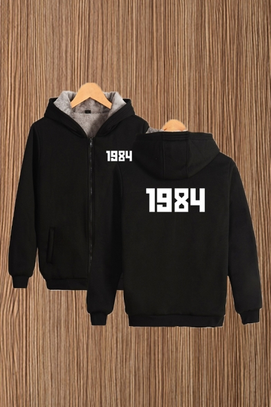 Number 1984 Print Sherpa Liner Long Sleeve Zip up Relaxed Fit Cool Hoodie with Guys