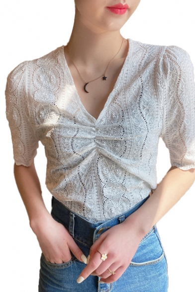 Sexy Womens Plain Lace Short Sleeve V-neck Ruched Fitted Blouse Top