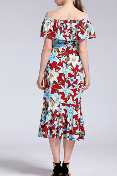 Trendy All over Flower Printed Short Sleeve Off the Shoulder Ruffled Mid Fishtail Dress