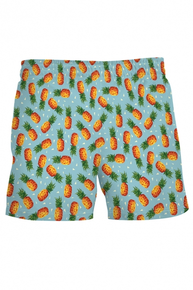Trendy Mens Allover Pineapple Printed Drawstring Waist Relaxed Fit Shorts