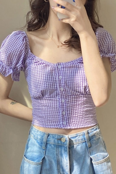 Trendy Womens Checkered Print Puff Sleeve Square Neck Button down Slim Fitted Cropped Blouse Top