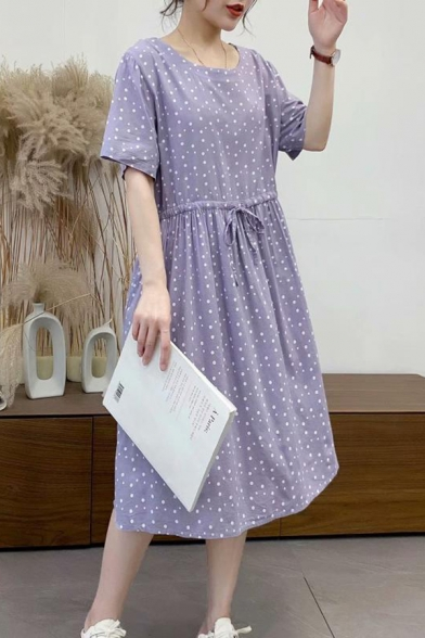 Vintage Womens Polka Dot Print Short Sleeve Round Neck Drawstring Waist Mid Pleated Swing Dress