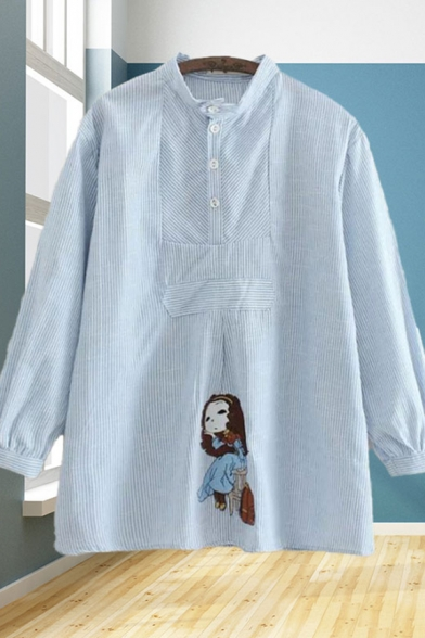 Cartoon Girl Embroidered Long Sleeve Stand Collar Button up Striped Panel Loose Trendy Shirt in Blue