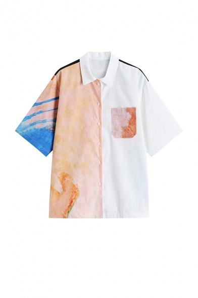 Cool Girls Colorblock Dye Printed Pocket Button Down Collared Short Sleeve Regular Fit Shirt in White