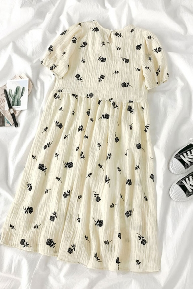 Cute Girls Rose Printed Pleated Button Detail Back Crew Neck Short Puff Sleeve Midi Smock Dress in Yellow