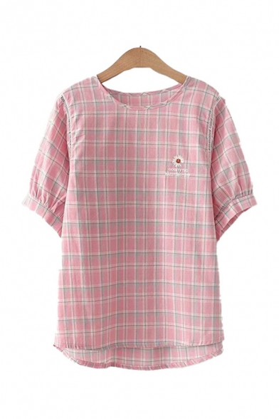 Daisy Floral Letter Embroidered Plaid Print Short Sleeve Round Neck Relaxed Fit Popular Blouse Top for Girls