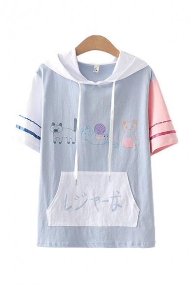 Lovely Girls Japanese Letter Cartoon Cat Graphic Striped Short Sleeve Drawstring Hooded Relaxed T Shirt