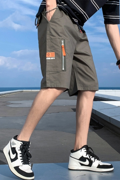 Men's Summer New Fashion Letter Label Patchwork Casual Cotton Cargo Shorts with Side Zipped Pocket