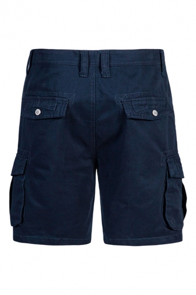 Mens Trendy Solid Color Zip Fly Button Knee Length Straight Fitted Cargo Shorts with Pockets