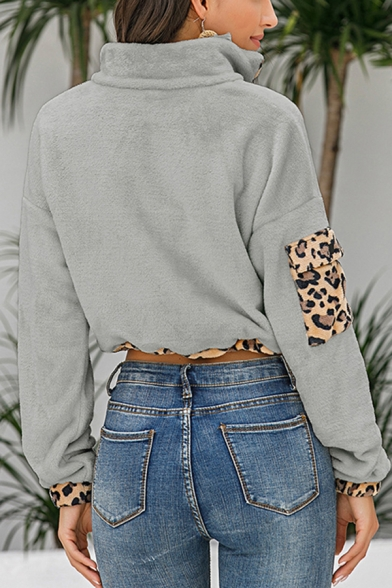 Stylish Leopard Print Flannel Drawstring Hem Long Sleeve Stand Collar Half Zipper Relaxed Cropped Pullover Sweatshirt for Women