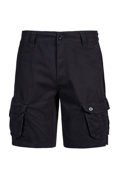 Stylish Men's Solid Color Zip Fly Button Knee Length Regular Fit Cargo Shorts with Pockets