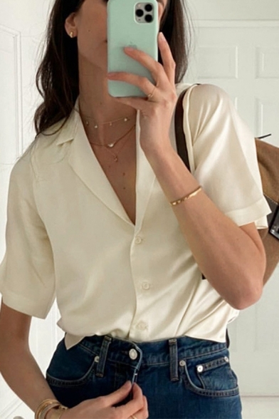 Stylish Satin Short Sleeve Lapel Neck Button up Plain Relaxed Shirt for Ladies