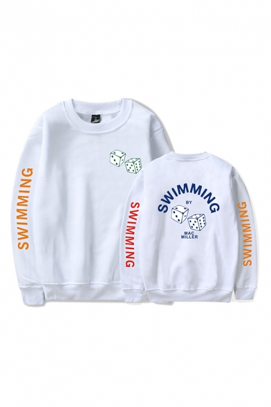 Trendy Mens Dice Letter Swimming by Mac Miller Printed Pullover Long Sleeve Round Neck Regular Fit Graphic Sweatshirt