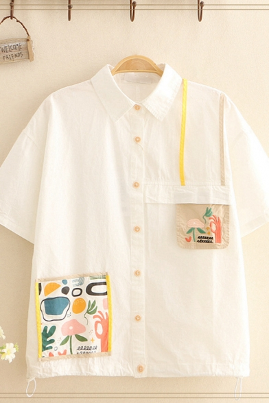 Womens Popular Cartoon Patched Short Sleeve Point Collar Button down Relaxed Fit Shirt Top