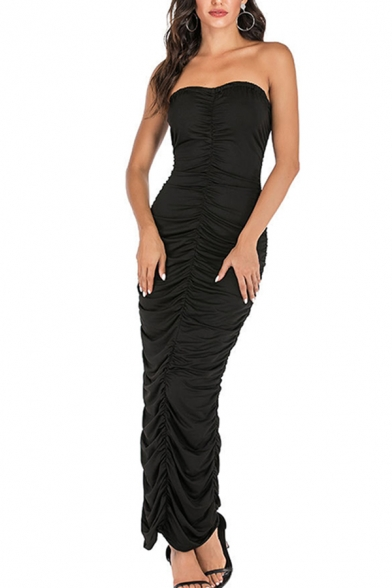 Amazing Womens Solid Color Strapless Ruched Maxi Bodycon Tube Dress in Black