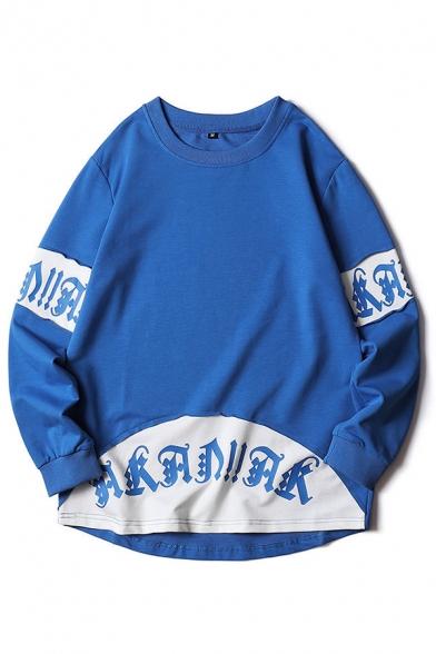 Chic Letter Printed Panel Long Sleeve Crew Neck Oversize Pullover Sweatshirt for Men