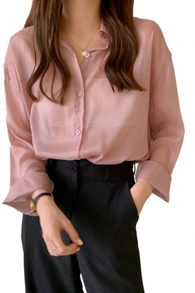 Chic Womens Sun-protection Sheer Long Sleeve Spread Collar Button down Curved Hem Loose Shirt