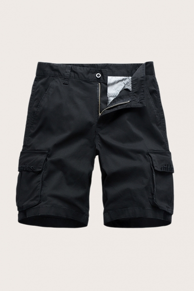 Cool Mens Shorts Letter Athletics Pattern Zip Fly Button Detail Knee Length Straight Fit Chino Shorts with Flap Pockets