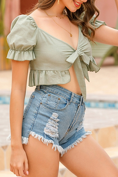 Fancy Womens Green Puff Sleeve Sweatheart Neck Bow Tied Ruffled Fit Cropped Blouse Top
