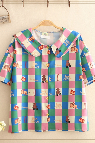 Fashion Girls Checkered Allover Mixed Cartoon Print Short Sleeve Peter Pan Collar Button down Relaxed Shirt Top in Pink