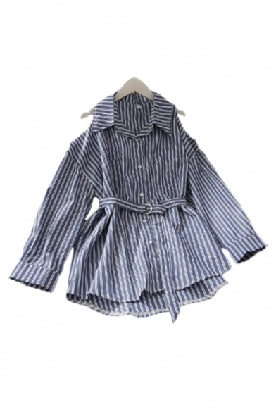 Fashion Striped Pockets Button Down Belt Label Back Collared Long Cold Shoulder Relaxed Fit Tunic Shirt for Womens