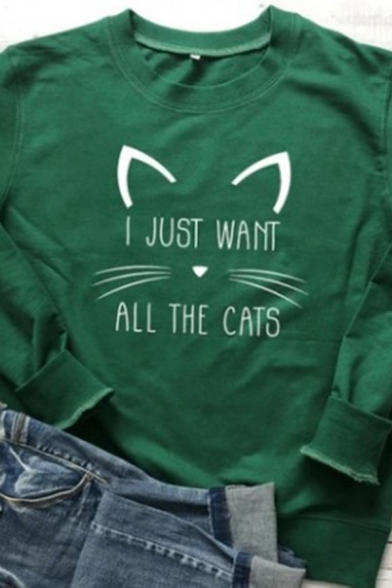 Fashionable Womens Letter I Just Want All The Cats Cartoon Cat Graphic Long Sleeve Crew Neck Relaxed Pullover Sweatshirt in Green