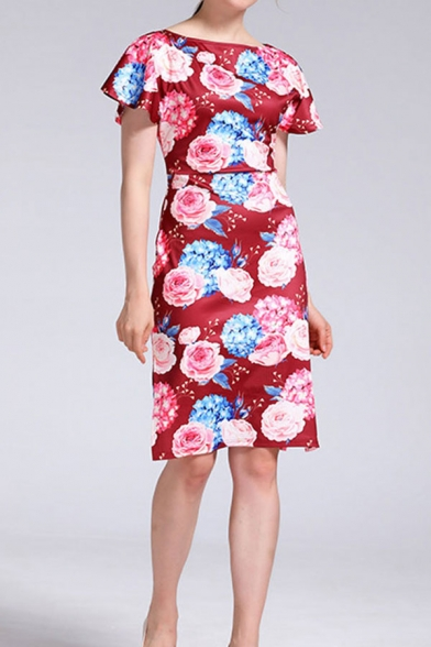 Ladies Vintage Floral Allover Print Short Sleeve Boat Neck Slit Sides Short Sheath Dress in Red