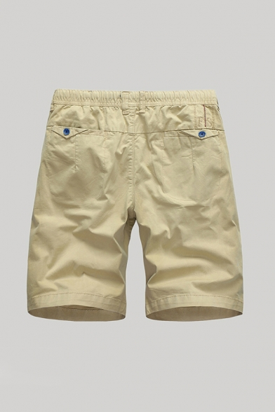 Mens Simple Shorts Solid Color Zip-fly Pocket Button Detail Knee Length Straight Fit Chino Shorts