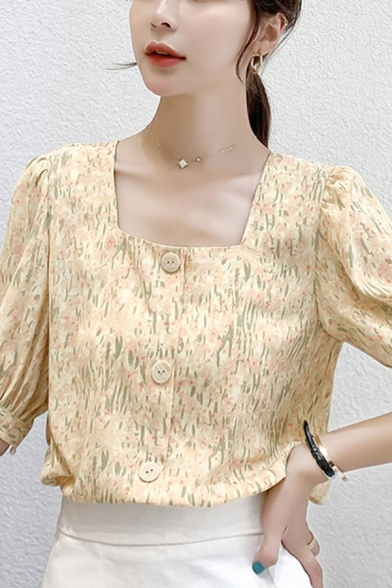 Pretty Ladies Ditsy Floral Print Puff Sleeve Square Neck Button down Loose Fit Shirt