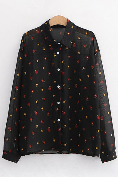 Stylish Ladies Ditsy Floral Printed See-through Mesh Long Sleeve Point Collar Button up Relaxed Shirt Top