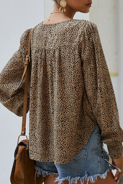 Trendy Leopard Print V Neck Long Bishop Sleeve Relaxed Fit Pullover Shirt for Women