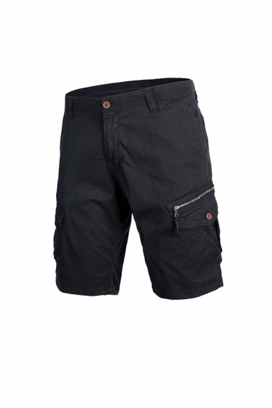 Trendy Mens Solid Color Pockets Zip-fly Button Knee Length Fitted Cargo Shorts