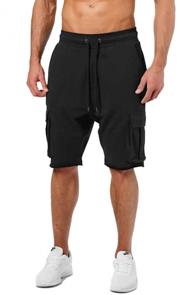 Causal Solid Color Drawstring Pockets Knee Length Regular Fitted Cargo Shorts for Men