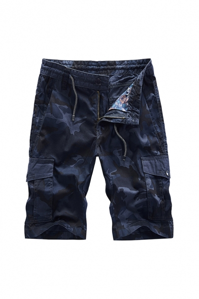 Cool Shorts Camo Print Zip-fly Drawstring Button Flap Pockets Knee Length Straight Fit Cargo Shorts for Men