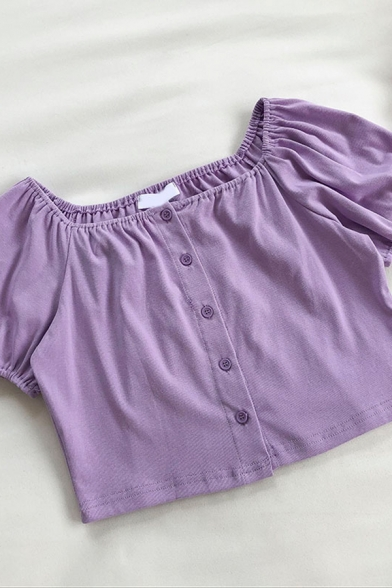 Cute Girls Solid Color Pleated Button Down Square Collar Short Sleeve Regular Fit Cropped Shirt