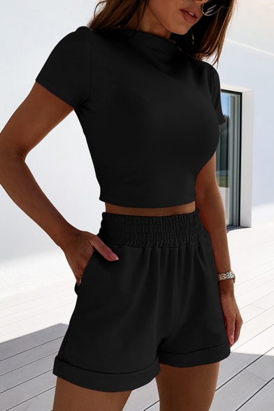 Edgy Girls Solid Color Short Sleeve Mock Neck Fit Crop Tee & Rolled Cuffs Relaxed Shorts Set
