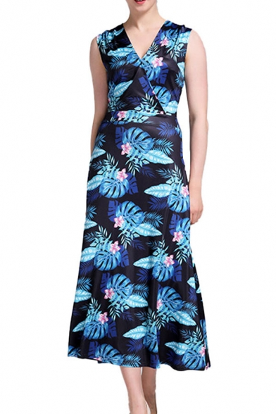 Floral All over Printed Sleeveless Surplice Neck Popular Mid A-line Dress in Blue