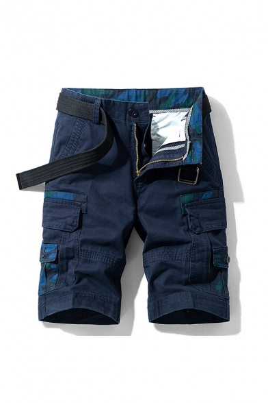 Mens Unique Shorts Color Block Camo Print Zip-fly Flap Pockets Button Detail Knee Length Straight Fit Cargo Shorts