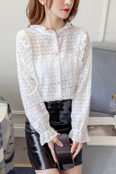 Pretty Girls Plain All over Floral Embroidered Sheer Lace Long Sleeve Stringy Selvedge Crew Neck Button-up Regular Fit Shirt