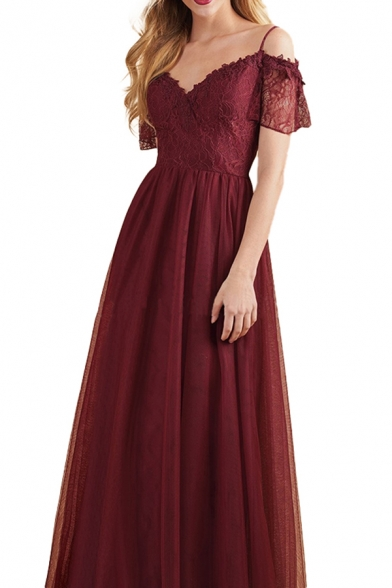Pretty Womens Lace Short Sleeve Cold Shoulder Maxi A-line Pleated Evening Dress in Burgundy