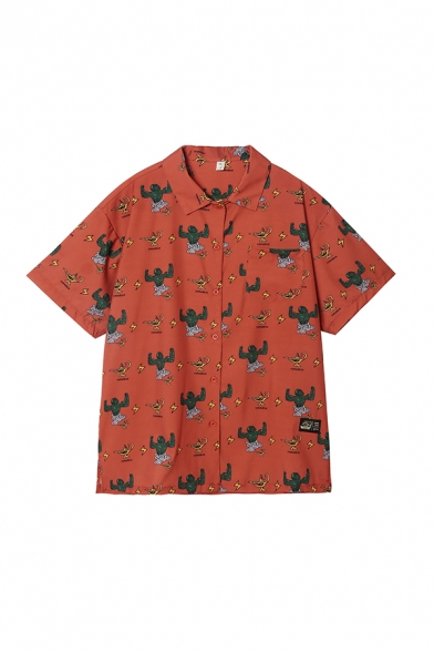 Red Casual Summer Letter Tyhpoeus Cartoon Aladdin lamp Printed Button Down Collar Short Sleeve Regular Fit Graphic Shirt