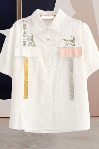 Simple Girls Letter A Simple Life Cat Embroidered Panel Straps Short Sleeve Turn down Collar Button down Relaxed Shirt Top in White