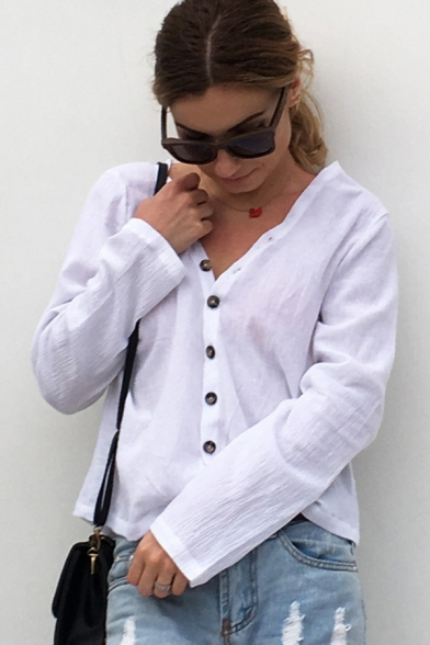 Simple Womens Long Sleeve V-neck Button down Relaxed Fit Shirt Top in White