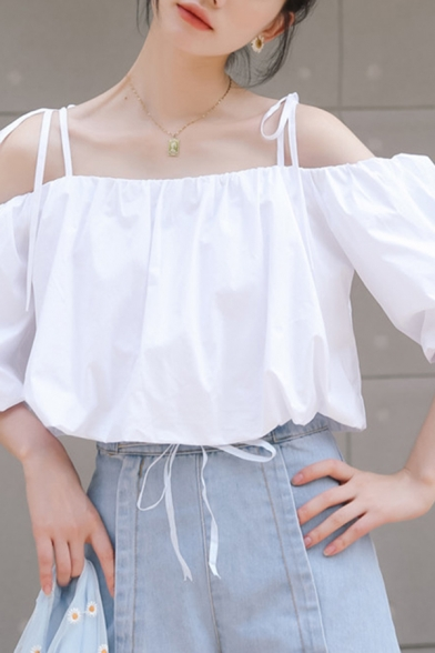Amazing Womens White Blouson Sleeve Cold Shoulder Bow Tied Relaxed Shirt Top